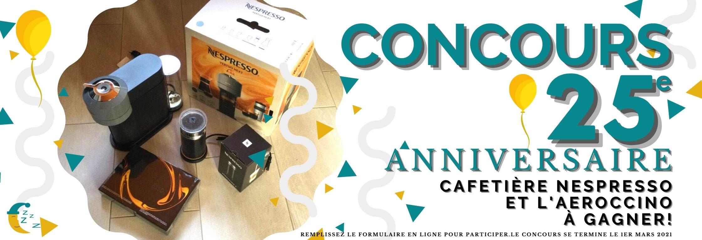 Bannière- Concours - Cafetière Nespresso et mousseur à lait Aeroccino à gagner - Pro-Médic Joliette - TIRAGE 1er mars 2020