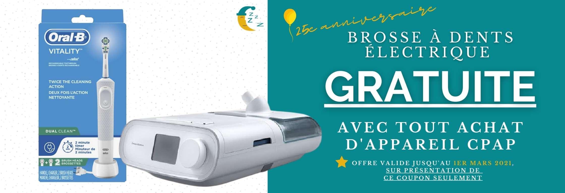 Brosse à dents GRATUITE avec tout achat d'appareil CPAP - offre valide jusqu'au 1er mars 2021 - Pro-Médic Joliette